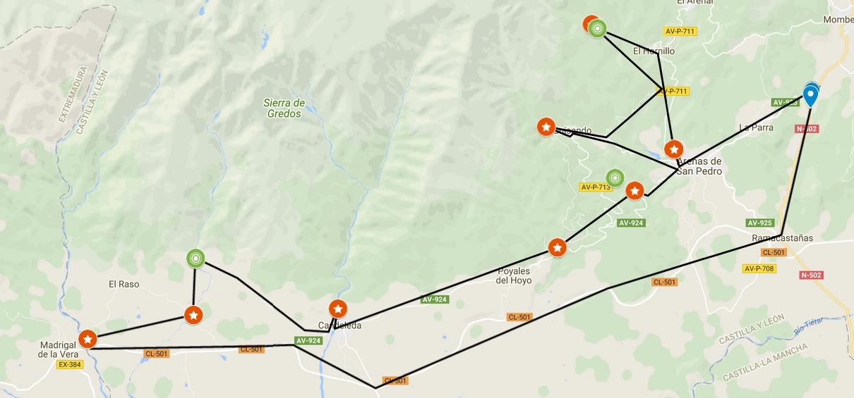 Mapa de la Ruta por los Charcos de Gredos rutasmotogredos.es